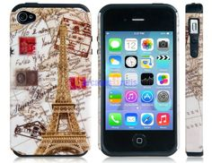Eiffel Tower Print TPU Rubber & Silicone Protective Case for iPhone 4/4S