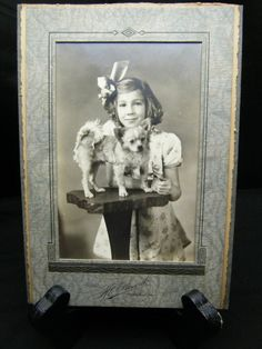 Vintage 1930 Studio Photo Young Girl with Cute Little Dog Meadville PA + Frame