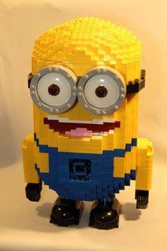 I want a Lego Minion Lego Minion, Minions Cartoon, Cool Lego, Awesome Lego, Yellow Guy, Penguins Of Madagascar, Lego Sculptures, Lego For Kids, Have A Laugh