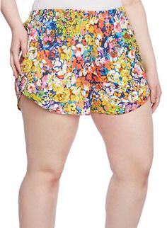 Plus Size Shorts with Floral Water Color Print,NAVY