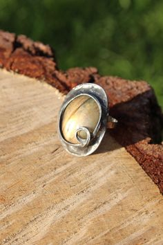 Labradorite stone ring Big large yellow orange by CreativeStudioML, $39.00