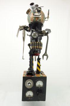 """""""Mechanique 45"""" found object robot assemblage by Assemblique™"""