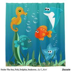 Under The Sea, Fish, Dolphin, Seahorse, Starfish Shower Curtain