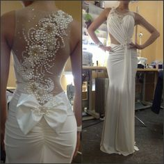 Custom Made Sheath Scoop Neck Floor Length Chiffon Ruched Prom Dress with Pearls #backless# #pearls# #white# #prom dress#