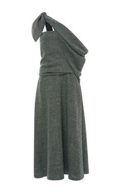 Grey Silk Linen Sling Dress by ROSIE ASSOULIN Now Available on Moda Operandi