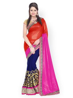 455df3d5c Buy Florence Red   Navy Embroidered Chiffon Partywear Saree - Sarees for  Women from Florence at Rs. Style ID  675090