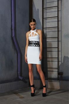 Herve Leger. White and black.