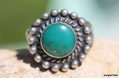 Vintage Navajo Hand Wrought Sterling Silver & Turquoise Satellite Ring Size 5 3/4