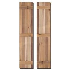 Design Craft MIllworks, 15 in. x 72 in. Natural Cedar Board-N-Batten Baton Shutters Pair, 420233 at The Home Depot - Mobile