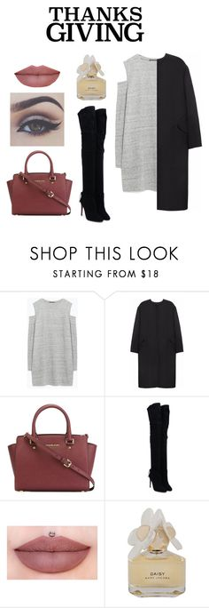"""""""Dinner With Family"""" by sxpx ❤ liked on Polyvore featuring Zara, Non, MICHAEL Michael Kors, Aquazzura, Marc by Marc Jacobs and thanksgiving"""