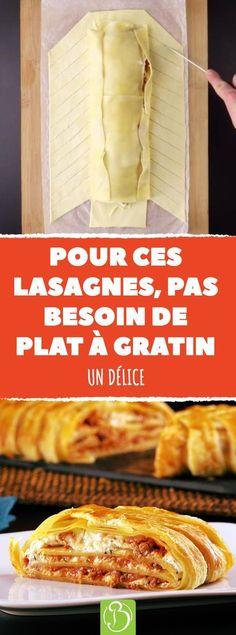 Voici une recette de lasagnes, comme vous n'en avez jamais vue. Un feuilleté de lasagnes, ça vous tente ? #pate #pates #gratin #gratins #feuilletes #bolo #bolognaise #tomate #tomates #viande