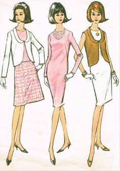 1960s Vintage McCalls Sewing Pattern 7704 Misses Dress and Jacket Size 10 31B