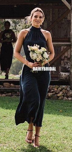 Honest A-line Halter Tea-length Sleeveless Bridesmaid Dress, FC5135#bridesmaiddresses #bridesmaiddress #bridesmaids #dressesformaidofhonor #weddingparty #2021bridesmaiddresses #2021wedding Simple Bridesmaid Dresses, Prom Dresses, Bridesmaids, Formal Dresses, Wedding Dresses, Best Friend Bridesmaid, How To Make Shoes, Tea Length, Dress Backs