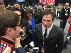 Actor and Bernie Sanders supporter Mark Ruffalo in the spin room after the CNN Debate in Flint, Michigan
