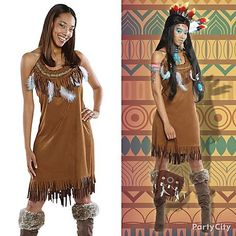 Embody the spirit of the tribe! Authentic looking feathers, faux-leather fringe dress and beaded pouch complete the look!