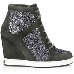 Jimmy Choo Panama Gunmetal Coarse Glitter Fabric Wedge Sneakers ($850) ❤ liked on Polyvore featuring shoes, sneakers, gunmetal, high heel shoes, urban shoes, jimmy choo shoes, high heel sneakers and high heel trainers