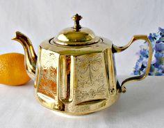 Vintage Brass Teapot, Gooseneck Spout Tea Kettle, Floral Etched Brass, Embossed Brass Asian Teapot, Finial Handle Lid, Rustic Farmhouse