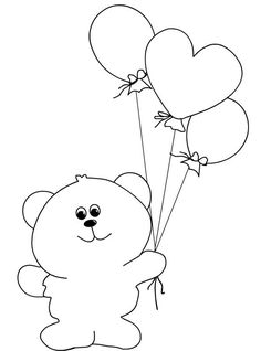 Bear with balloons Free Printable Coloring Pages, Coloring Pages For Kids, Coloring Books, Drawing For Kids, Painting For Kids, Rock Crafts, Diy And Crafts, Creative Bookmarks, Valentine Coloring Pages