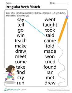 Do your students struggle to remember irregular verb tenses? Use this great matching activity to help students connect the present to the past. They'll be using irregular past tense verbs with confidence in no time! English Grammar For Kids, Learning English For Kids, Teaching English Grammar, English Worksheets For Kids, 2nd Grade Worksheets, English Lessons For Kids, English Writing Skills, Grammar Lessons, Learn English Words