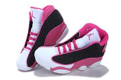Pink+Jordan+Shoes | Women Air Jordan 13 (XIII) Retro Pink/Black/White shoes