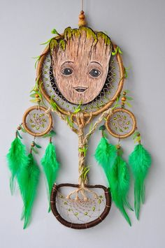 Baby Groot Dream Catcher Wall Hanging Guardians of the Galaxy #groot #babygroot #marvel #guardiansofthegalaxy #dreamcatcher #dream #catcher #walldecor #wallhanging #hanging #GOTG #GOTG2 #handmade #uniquegift #gift