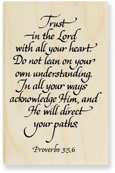 Proverbs 3:5-6 (KJV) [5] Trust in the LORD with all thine heart; and lean not unto thine own understanding. [6] In all thy ways acknowledge him, and he shall direct thy paths. ..always my pick me up when I need encouraging..