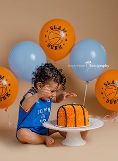 MJ's 1st Birthday Cake Smash! Basketball theme cake smash