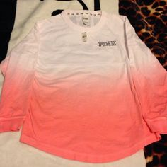 NWT PINK OMBRÉ CREW Brand new with tags MSRP $49.95. Colors white and ombré pink. Size small. Oversized!!! Tunic length and also scoop bottom! Brand new never been worn, tags still attached! Will only trade for ISO. Price is FIRM DUE TO TAGS BEING PRESENT! Don't ask for lowest! Thank you :) PINK Victoria's Secret Sweaters Crew & Scoop Necks
