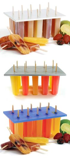 All Natural Popsicles are a cool way to get your daily requirement of fruits and veggies! Freeze any smoothie recipe in these popsicle molds.