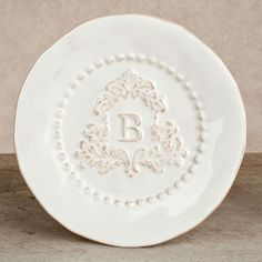 The GG Collection, 8.5 in Heirloom Salad Plate, Set of 4 - White, Crest Letter B  $76.00