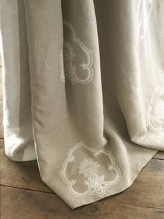 Embroidered de le cuona linen drapes I would mortgage the house for these!