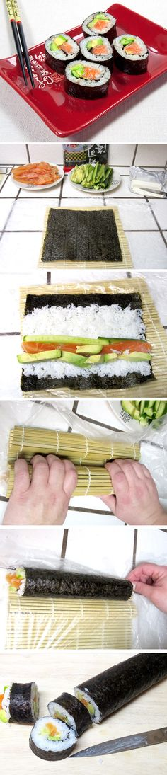 A step by step tutorial how to make sushi rolls at home. Click for recipe: http://irinascutebox.blogspot.com/2012/02/homemade-sushi-rolls.html