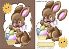 Chocolate bunny with easter eggs in chocolate frame on Craftsuprint - Add To Basket!
