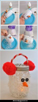 Christmas Craft for Kids -  You will love this holiday mason jar craft idea which doubles as a cute ornament, holiday decoration, or glowing luminary. More @ http://girlypictorials.com/