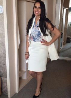 white on white: oversized vest, pencil skirt, and florals #springtrends