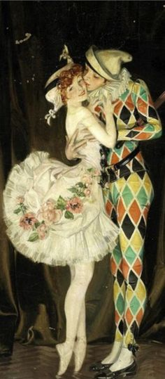 Frank Xavier Leyendecker (1876-1924), Nov. 1914, (detail) Arlecchino and Columbina (#Harlequin and #Colombine Embracing), Vanity Fair. #Kiss
