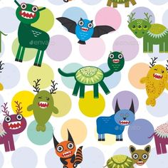 Cute cartoon Monsters Set.seamless pattern on white background. Vector illustration