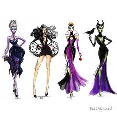 Instagram media by elistjohn - Glammed-up #DisneyVillains #fashionillustration #Ursula #CruelaDeVil #EvilQueen #Maleficent
