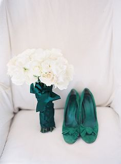 or with bride and bridesmaids in sequins, go simpler with bouquet: lush white roses, emerald ribbon?