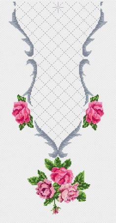 cross stitch neckline @ Afs Collection ltd. Cross Stitch Rose, Cross Stitch Borders, Modern Cross Stitch, Cross Stitch Flowers, Cross Stitch Charts, Cross Stitch Designs, Cross Stitching, Cross Stitch Embroidery, Cross Stitch Patterns