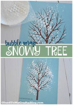 Bubble Wrap Snowy Tree Kid Craft w/free printable