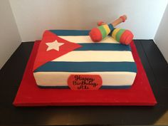 Cuban Flag Cake with Maraccas