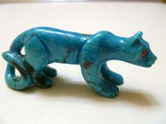 Beautiful!!! Zuni Fetish Carving Turquoise Mountain Lion Hiram Peynetsa | eBay