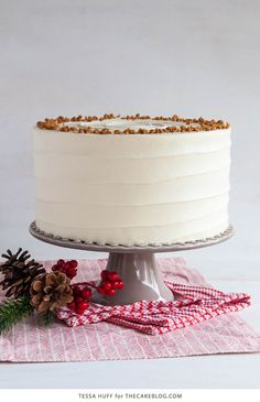 Eggnog Cake! A browned butter spice cake with eggnog buttercream, perfect for holiday entertaining & Christmas dessert   by Tessa Huff for TheCakeBlog.com