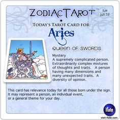 Daily tarot card for Aries from ZodiacTarot! Got questions about the future?  Here's a 4000 year old oracle with some answers!   Visit iFate.com and do an I Ching reading today!