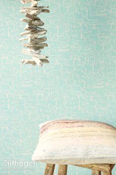 Eijffinger behang Ibiza - blauw, naturel - 330228 www.cdinterieurs.nl