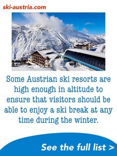 Find out more about Austria's high-altitude ski resorts. Ski-Austria looks at five destinations with snowsure skiing throughout the winter season. Austrian Ski Resorts, Ski Austria, Ski Holidays, During The Summer, Winter Season, All Over The World, Mount Everest, Skiing, Ski