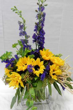 Sunflowers & Larkspur