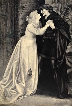 Hamlet and Ophelia. Lithographic print by Edward H. Bell, 1879.