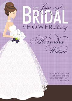 aad1f9732555 Wedding Shower Invitations - Perfect in Purple Blonde Bridal Shower  Invitation